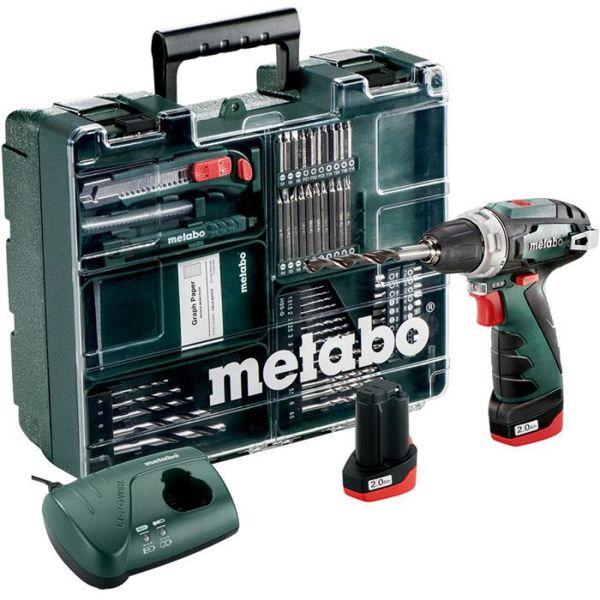 Borskrutrekker Metabo POWERMAXX BS BASIC SET med 2,0 Ah-batterier, lader og tilbehør