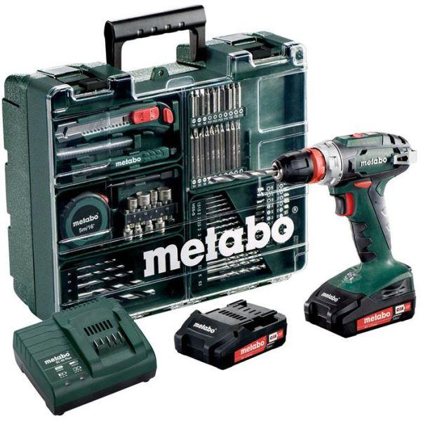 Borrskruvdragare Metabo BS 18 QUICK SET 2,0Ah batterier, laddare och tillbehör