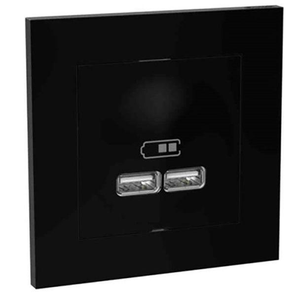 Laddstation Elko Plus infälld, 2 USB Svart
