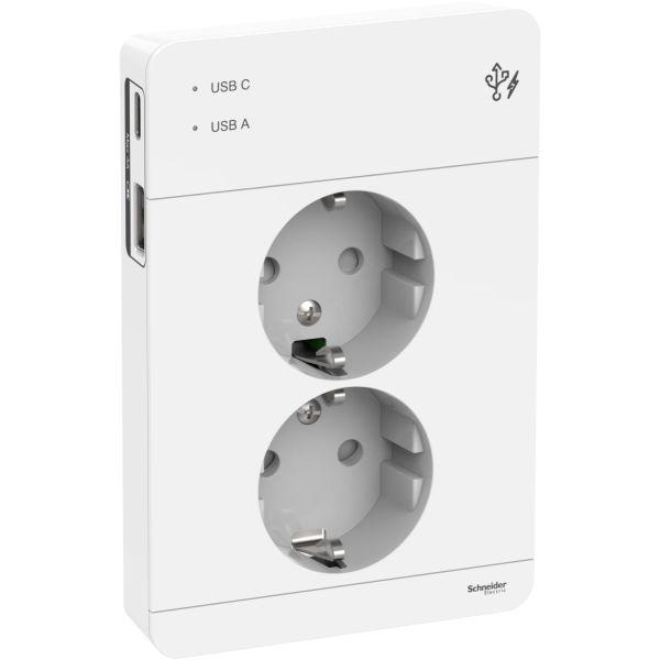 Vägguttag Schneider Electric Exxact med USB Vit