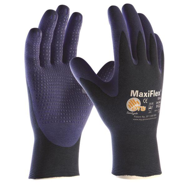 Montagehandske ATG MaxiFlex ELITE 34-244 blå med dot Strl 10
