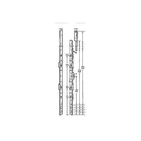 Espagnolett ASSA Spanjoflex Fix 1062 sluttstykkeskinne og skrue
