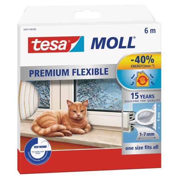 Tiivistenauha Tesa Tesamoll Premium Flexible silikoninen, 6m, 9 mm x 7 mm Valkoinen