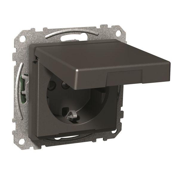 Vägguttag Schneider Electric WDE003177 1-vägs, jordat, lock Antracit