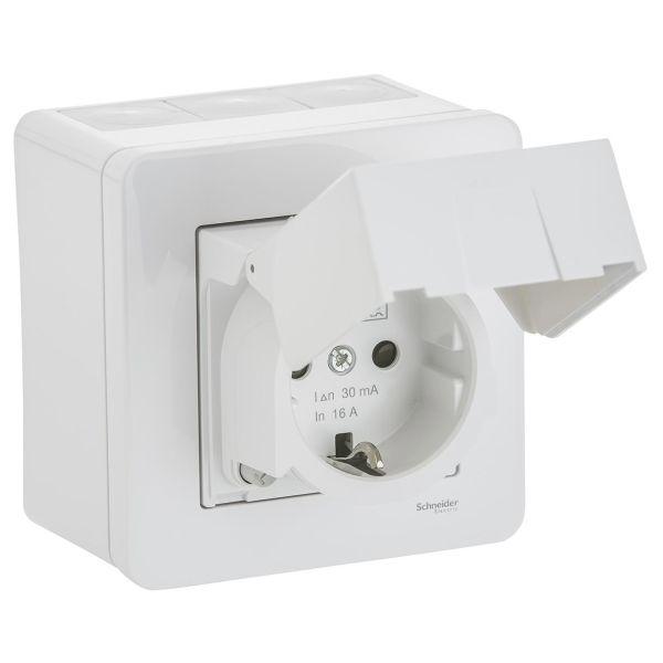 Vägguttag Schneider Electric WDE002979 med jordfelsbrytare, utv, IP44, vit
