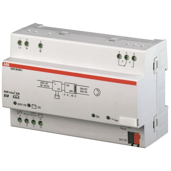 Virtalähde ABB GHQ6310049R0111 640 mA, UPS, DIN-kisko, 8 mod, KNX