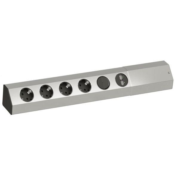 Köksströmlist BACHMANN 923.008 2 x USB-laddare, 4 x Schuko