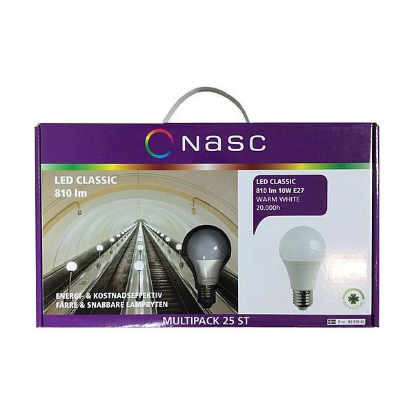 LED-lampa Narva Classic 10 W, 2700 K, 25-pack B22d-sockel