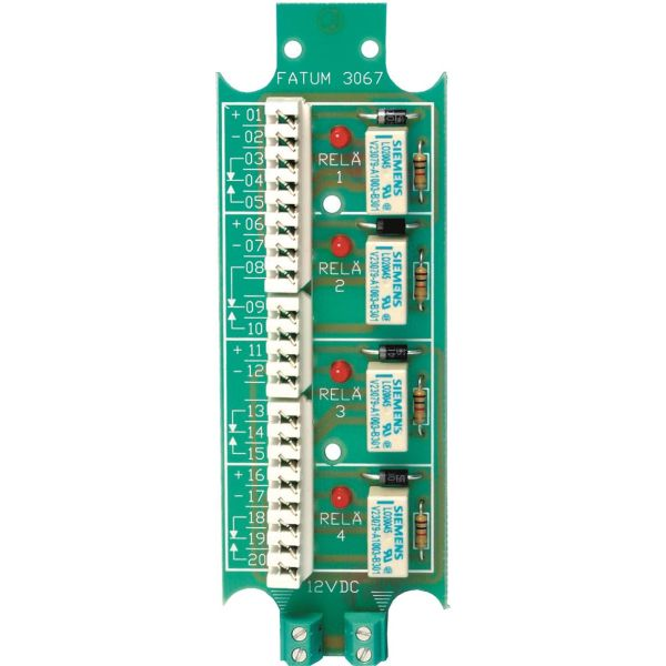 Alarmtech 3067.01 Reläplint 4-relä, 12 DC Skruv/skruv
