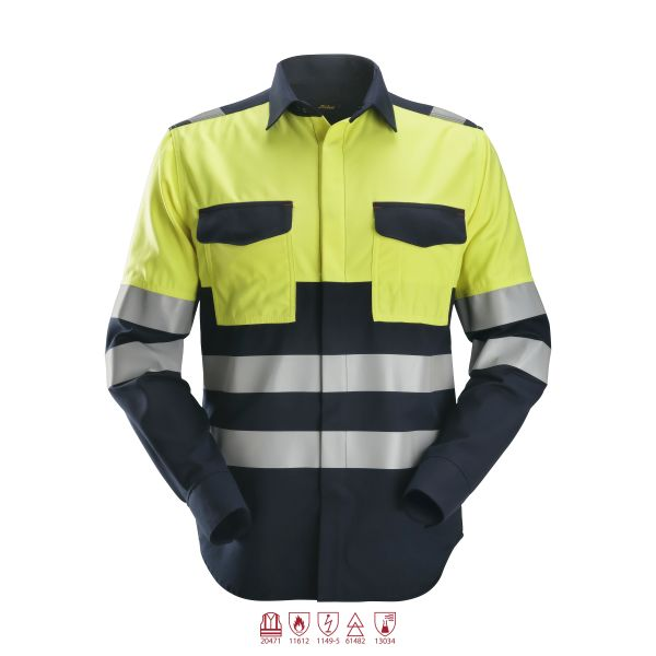 Snickers 8560 ProtecWork Skjorta varsel gul/marinblå L