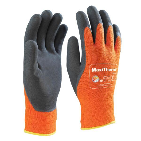 Arbeidshansker Maxiflex Maxitherm oransje/svart, lateksdyppet 10