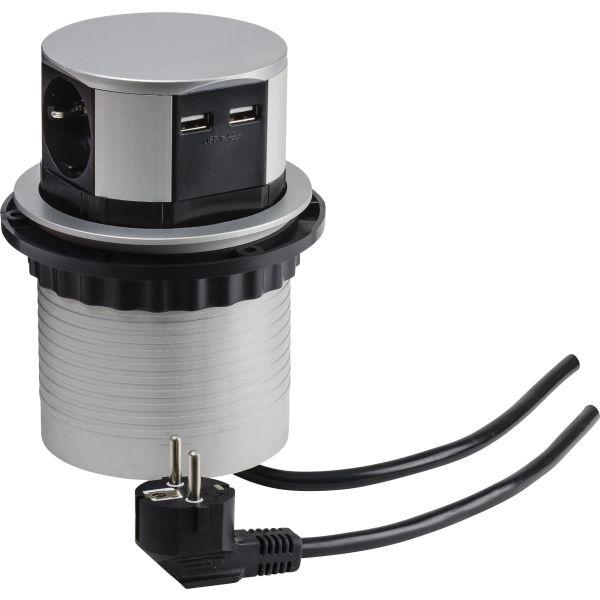 Grenuttag Gelia 19045601 3-vägs + 2 st USB