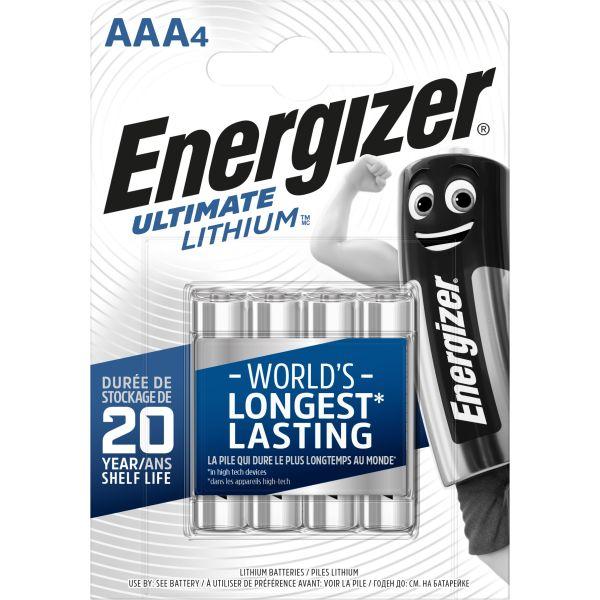 Litiumbatteri Energizer Ultimate Lithium 1,5 V, 4-pack AAA