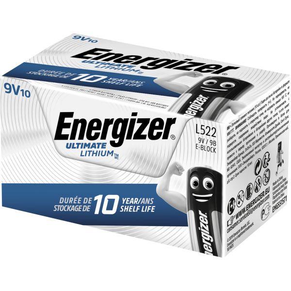 Litiumbatteri Energizer Ultimate Lithium L522 9 V, 10-pack