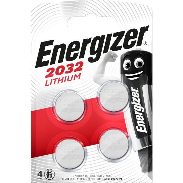 Knappcellsbatteri Energizer 2032 litium, 3 V 4-pack