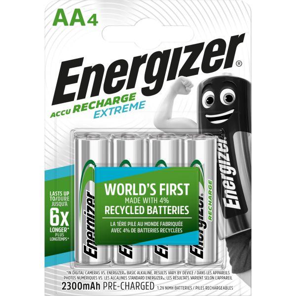 Laddbart batteri Energizer Recharge Extreme AA, 1,5 V, 4-pack
