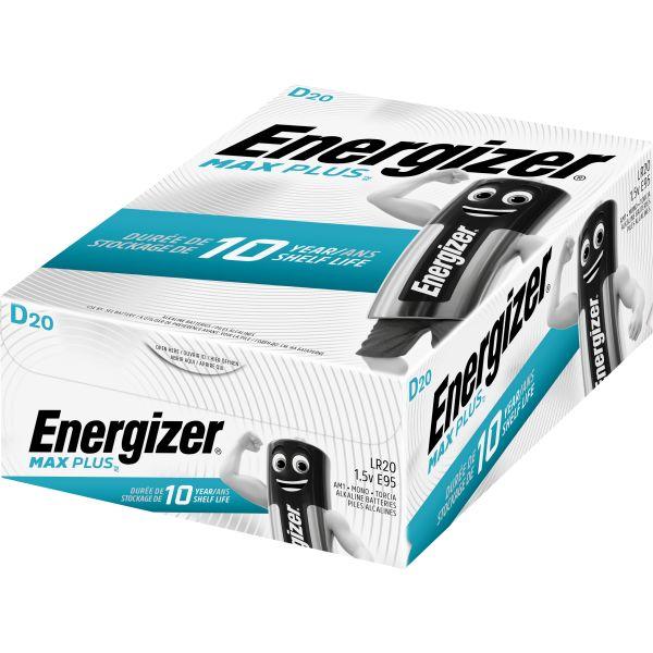 Alkaliskt batteri Energizer Max Plus D, 1,5 V, 20-pack