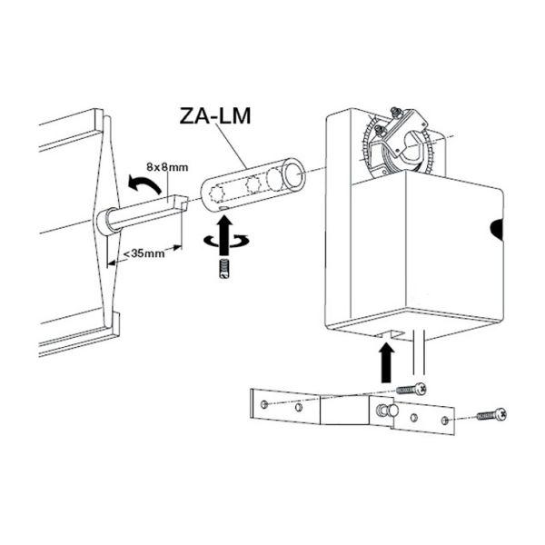 Spjällaxelförlängare Belimo ZA-LM för LMA spjällmotorer
