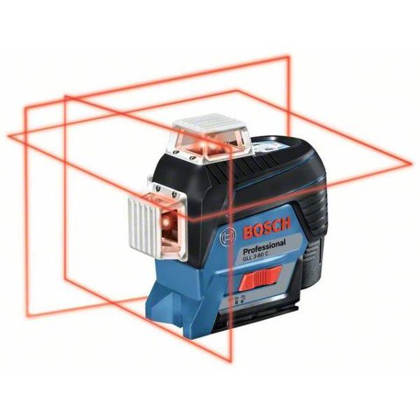 Ristilaser Bosch GLL 3-80 C sis. 2,0 Ah:n akun ja laturin