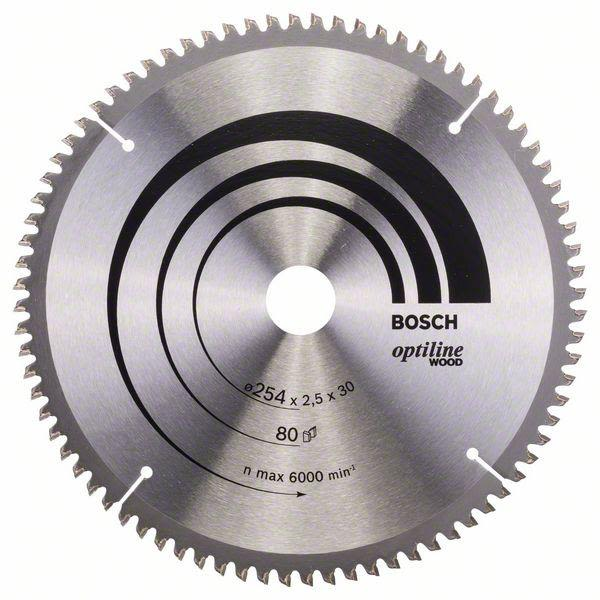 Sågklinga Bosch 2608640437 Optiline Wood 254x2,5x30mm, 80T