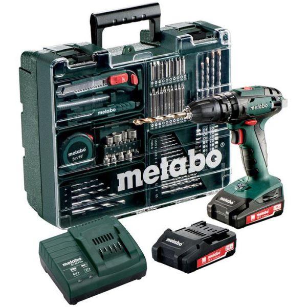 Slagborrmaskin Metabo SB 18 Set med tillbehörssats, batterier & laddare
