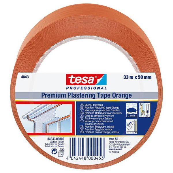 Tesa 4843 Bygg och skyddstejp PVC, UV-resistent, 33 m x 50 mm, orange
