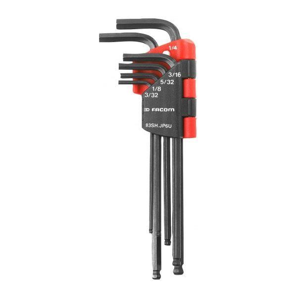 Insexnyckelsats Facom 83SH.JP7 lång sfärisk 1,5 mm-6 mm, 7 st.