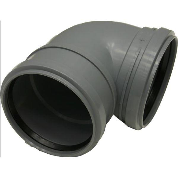 WC-böj Pipelife 176001 med 2 muffar, lågbyggande språng, 110 mm