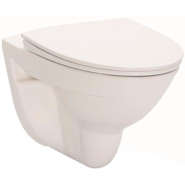 Toalettstol IDO Glow Rimfree 7626501201 vägghängd, med hårdsits soft-close