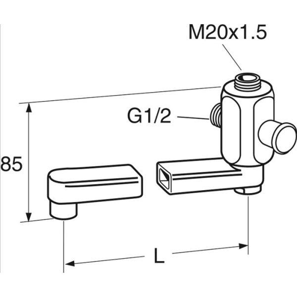 Gustavsberg GB41635270 Utloppspip svängbar M20x15 x G15