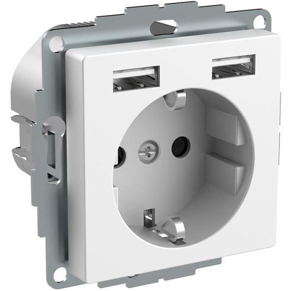Vägguttag Schneider Electric Exxact WDE002179 jordat, 2-vägs, med USB, vit