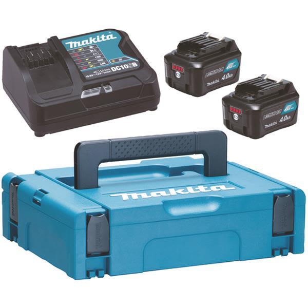 Laddpaket Makita Powerpack 197641-2 2 st. 4,0 Ah batterier, laddare, väska