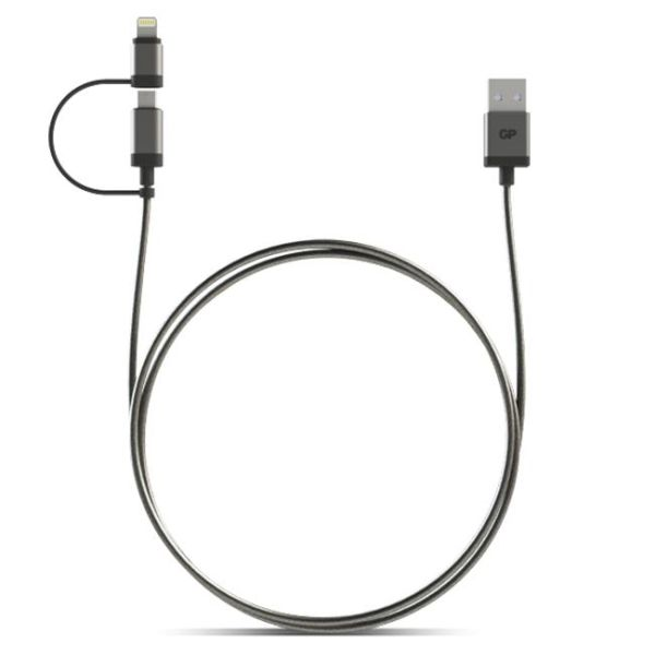 USB-kabel GP Batteries MFI Lightning/Micro, 1 m
