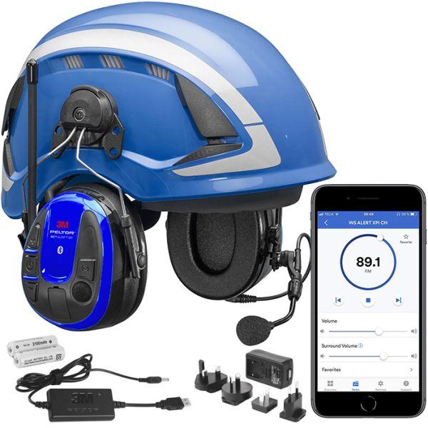 Kuulonsuojainpaketti 3M Peltor WS Alert XPI kypärä, mobiilisovellus, latauspakkaus