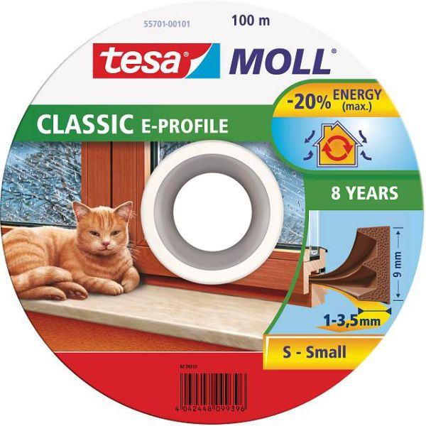 Tesa E-list 55701-00101-00 Tätningslist EPDM, 100 m, 9 mm x 4 mm Brun