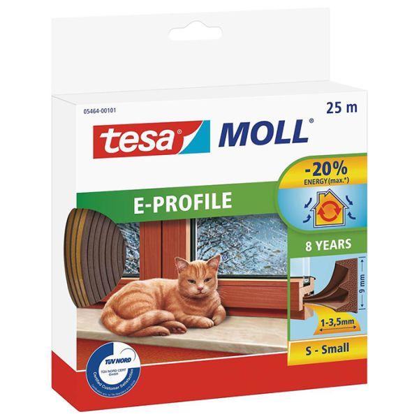 Tesa E-list 05464-00101-00 Tätningslist EPDM, 25 m, 9 mm x 4 mm Brun
