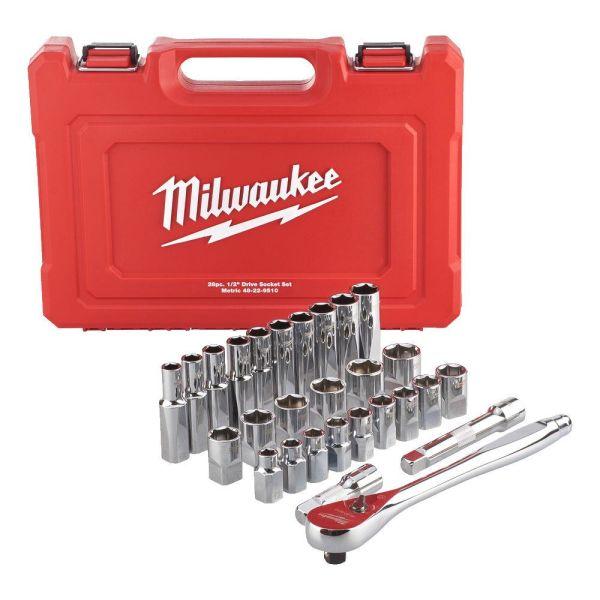 Hylsnyckelsats Milwaukee 4932471864 med standardhylsor och djupa hylsor