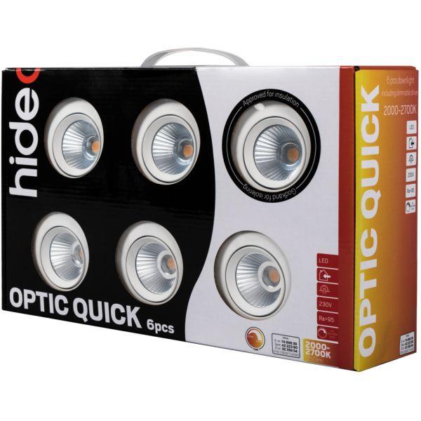 Downlight Hide-a-Lite Optic Quick ISO vit, 6-pack 2000-3000 K