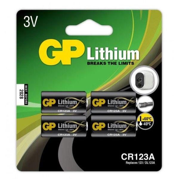 Fotobatteri GP Batteries CR 123A-C1 litium, 3V, 4-pack