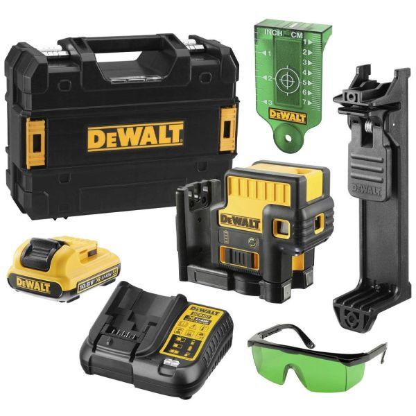 Punktlaser Dewalt DCE085D1G-QW med tilbehør, grønn