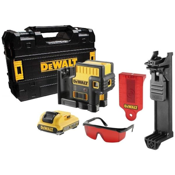 Punktlaser Dewalt DCE085D1R-QW med tilbehør, rød