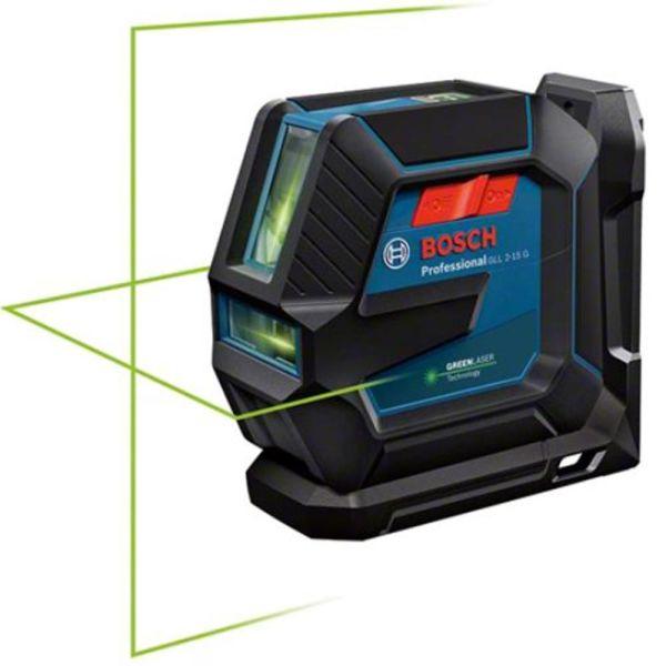 Linjelaser Bosch GLL 2-15/LB10 grön, med batterier