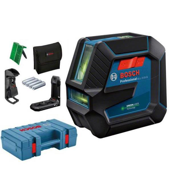 Linjelaser Bosch GLL 2-15/LB10 grønn, med veske og batterier