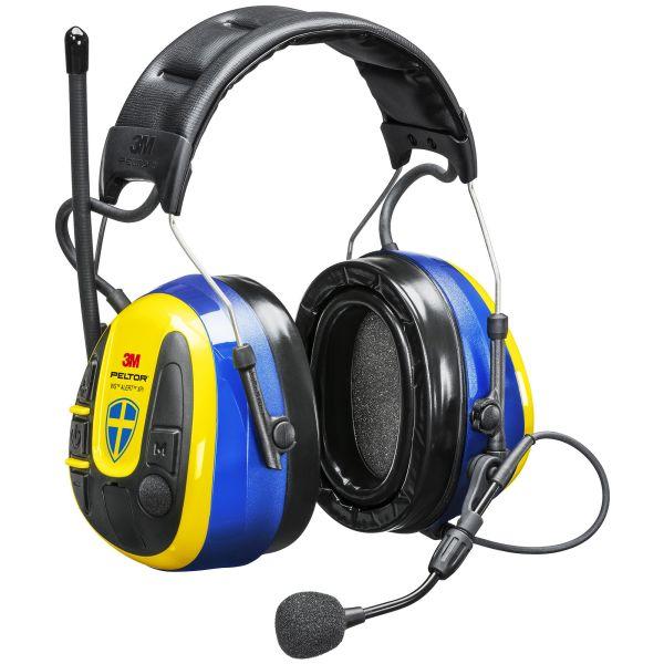 Hörselskydd 3M Peltor WS Alert XPI Sverigekåpan med Bluetooth och mobilapplikation, hjässbygel