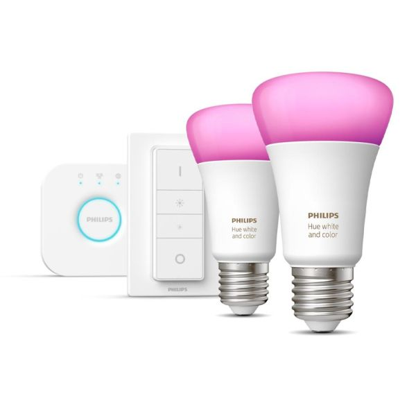 Startpakke Philips Hue White and Color Ambiance for smartbelysning, 2 x 9 W