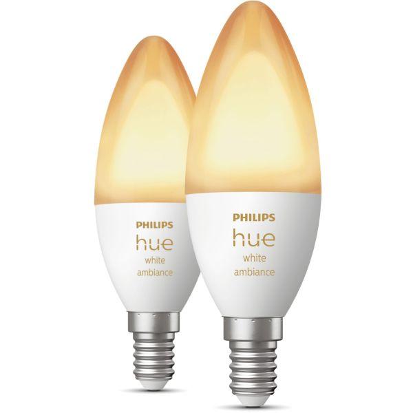 LED-lampe Philips Hue White Ambiance 5,2 W, E14, 2-pakning