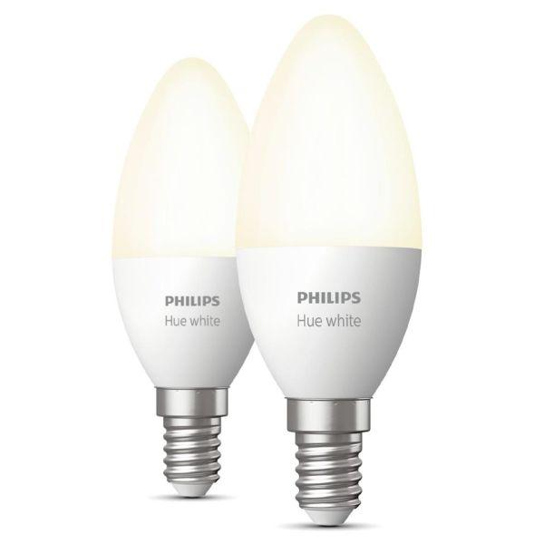 LED-lampe Philips Hue White 5,5 W, E14, B39, 2-pakning