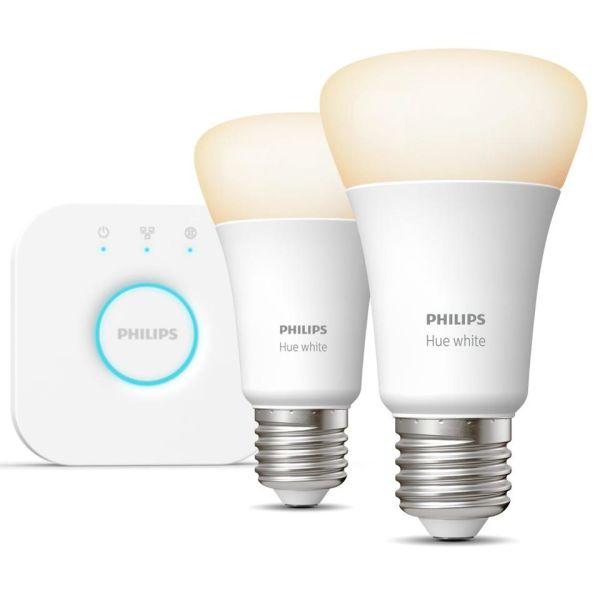 Startpakke Philips Hue White for smartbelysning, 2 x 9 W