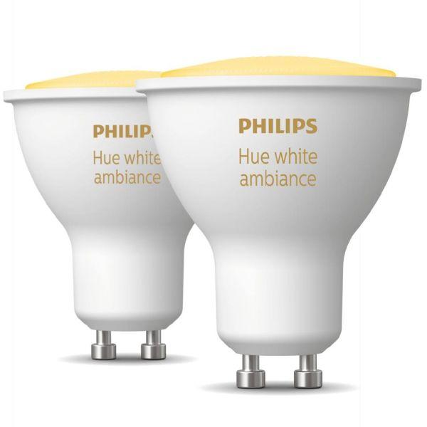 LED-lampe Philips Hue White Ambiance 5 W, GU10, 2-pakning