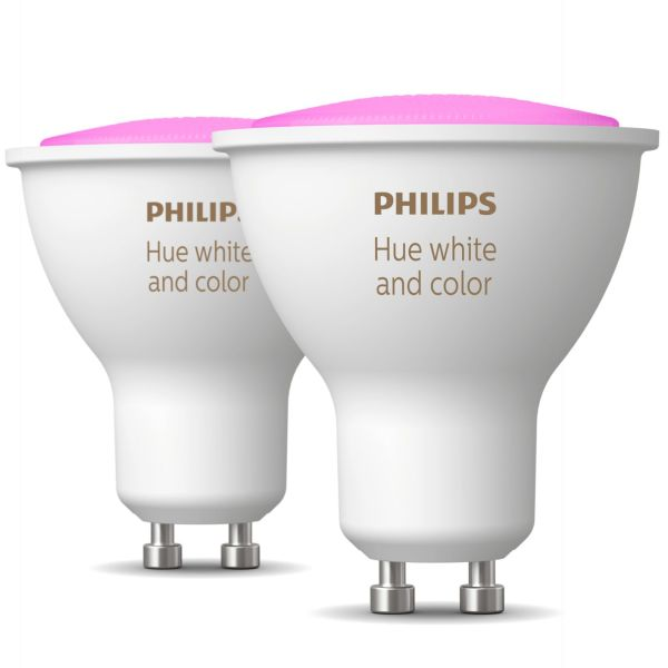 LED-lampe Philips Hue White and Color Ambiance 5,7 W, GU10, 2-pakning